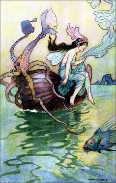 Illustration art by Warwick Goble (1920) from THE BOOK OF FAIRY POETRY.