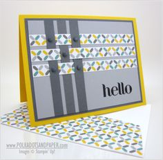 handmade greeting card ... wide strips of paper cross each other in a weave pattern  .... luv how Linda used dark color against a lively print to make the weave stand out ... like it! ... Stampin'Up!