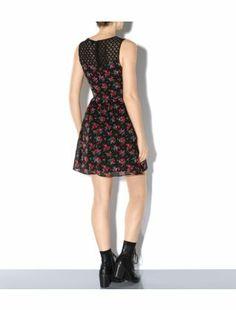 Black Pattern (Black) Black and Red Rose Print Lace Back Skater Dress  | 301041309 | New Look