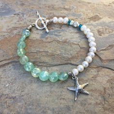Beach Bracelet, Light Green Chalcedony and Pearl Bracelet, Starfish Bracelet, 7.25 inch bracelet by EastVillageJewelry on Etsy
