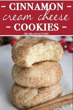 Santa's Favorite - Cinnamon Cream Cheese Cookies, an easy, tender cookie bursting with cinnamon sugar. The perfect #ChristmasCookie ! #Recipe from ThisSillyGirlsKitchen.com #cookie #creamcheese #cinnamon #creamcheesecookie