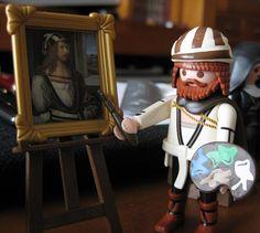 Alberto Durero de Playmobil pintando su propio autorretrato del Museo del Prado http://www.museodelprado.es/coleccion/a-fondo/autorretrato-alberto-durero-1498/