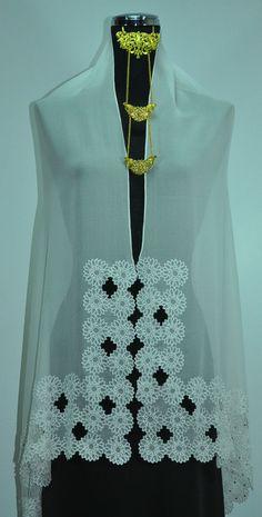 New Beautiful Embroidered Silk Scarf Shawl Wrap Hijab Ivory Sunflower Rhinestone #ShawlScarfWrap