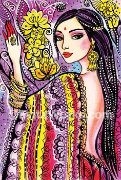 beautiful woman painting Indian decor bride art print feminine beauty wall decor affordable art gifts, signed print, 4x6 7x10.5