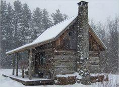 Cabins are so pretty in the snow.