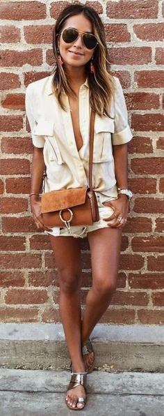 #Summer #Outfits / Yellow Top + White Short Shorts