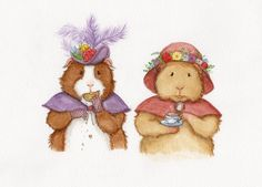 Guinea Pigs at Tea Art Print by WhenGuineaPigsFly on Etsy