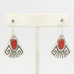 Coral Earrings by Mary and Everett Teller - Garland's Indian Jewelry. $160