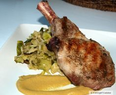 French Cut Pork Chops w/ Roasted Brussels Sprouts #Paleo #PorkChops #CavegirlCuisine