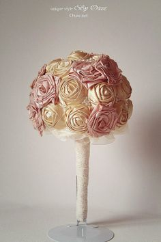 Wedding custom made gold and pink fabric flower, roses by Oxee, $193.00