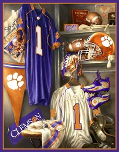 Clemson football locker print - WANT FOR THE BOYS ROOM!! <3