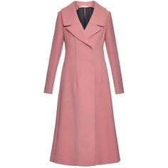 Marni Wide notch-lapel wool-blend coat ($1,895) ❤ liked on Polyvore featuring outerwear, coats, jackets, light pink, maxi coat, wool blend maxi coat, light pink coat, red coat and flared coat