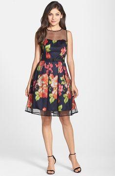 Eliza J Dot Mesh Overlay Charmeuse Fit & Flare Dress (Regular & Petite) | Nordstrom