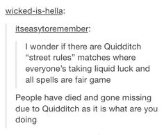 Hahahahahha this is great!!! We always joke about what muggle Quidditch would be like drunk and I think this post sums it up perfectly