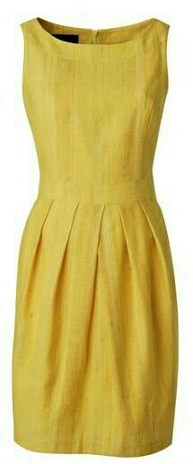 Dorothy Perkins yellow shift dress - this color would make me look dead, but great cut & design. Linen Dresses, Day Dresses, Short Dresses, Summer Dresses, Simple Dresses, Pretty Dresses, Beautiful Dresses, Mode Style, Yellow Dress