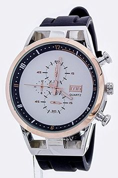 Trendy Fashion Jewelry Large Chrono Style Fashion Sports Watch By Fashion Destination  RhodiumRosegold ** You can find more watch details by visiting the image link.