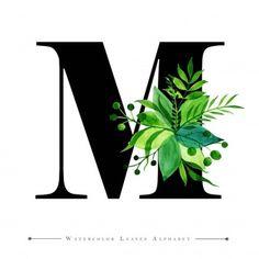 Monogram Alphabet, Monogram Letters, Monogram Design, Lettering Design, Font Alphabet, Watercolor Leaves, Watercolor Background, Floral Watercolor, Leaf Background
