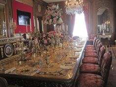 The single most stunning dining table I have ever seen! It's all inlaid stone. The table is covered throughout the year. It is uncovered each Feb. The Dining Room - Hillwood Estate - Washington, DC. Marjorie Merriweather Post's home. Now a museum.