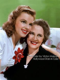 Beautiful color photo of Judy Garland & her mother.
