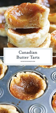 BEST Butter Tarts Recipe – EASY Canadian Butter Tarts Recipe A Canadian treat that everyone should try, these EASY Canadian Butter Tarts consist of a flaky crust filled with a buttery, caramel-like, gooey center! Easy Tart Recipes, Easy Desserts, Sweet Recipes, Gourmet Desserts, Gourmet Foods, Lemon Desserts, Homemade Desserts, Homemade Breads, Health Desserts