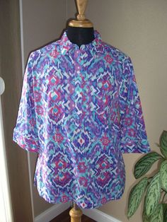 Westbound Petite NWT Wrinkle Free  3/4 Sleeve Multi Colored Blouse Size PXL #Westbound #ButtonDownShirt