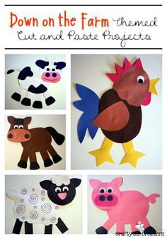 """Get your students """"down on the farm"""" with these easy to make cut and paste farm animals."""