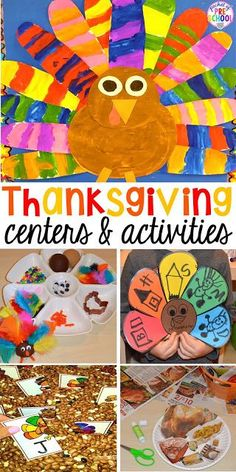 Thanksgiving and turkey themed activities and centers for preschool, pre-k, and kindergarten. (math, literacy, fine motor, character, and more). #thanksgivingtheme #preschool #prek #kindergarten