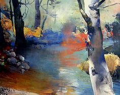 RANDALL DAVID TIPTON....Beside the Creek oil 22x30
