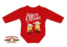 Christmas Minions baby onesie  - red