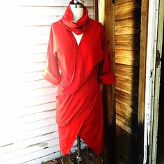 Rich Red Cape Meets Sweater Dress! Bold red hue! Sweater dress perfect for layering over your speedsters! Layer over plaid button down and jeans! Or your cashmere long sleeve tee and leather pants! You'll gets lots of wear out of this piece! Great condition! No tears or stains! UK brand, U.S. Size 10. Vintage Dresses