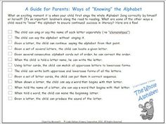 FREE parent checklist of the many ways to know the alphabet... beyond the ABC Song!