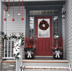 Love the gray house with red door