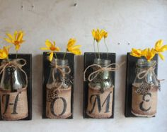 HOME Wall Decor..Set of 4...Upcycled Bottles....HOME Decor....Country Prim...Country Decor...Cabin Decor..