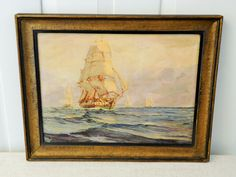 Antique Ship Maritime Oil Painting, Signed A Casanova, Impasto Waves - pinned by pin4etsy.com