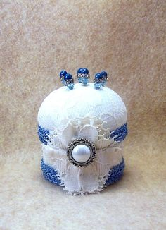 Wedgewood blue cream vintage fabric Victorian style pincushion with decorative Swarovski straight pins