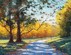 Coloridos cuadros de paisajes con caminos Pinturas en óleo de paisajes con arboles muy coloridos Colores vivos en paisajes con caminos  ...