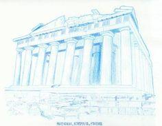 "Saatchi Art Artist Robert Lee; Drawing, ""Parthenon by Robert S. Lee (Sketchbook p. 125)"" #Robert #S. #Lee #drawing #art #artist #color #colour #Greece #Greek #Apostle #Paul #Parthenon #Acropolis #Athens Entire Book on Paperback https://www.amazon.com/dp/B015Z10SPA or Kindle Edition 1 https://www.amazon.com/dp/B015100PH6 or Kindle Edition 2 https://www.amazon.com/dp/B01518XVG0 Black & White Edition https://www.amazon.com/dp/B015Z3KSEO"