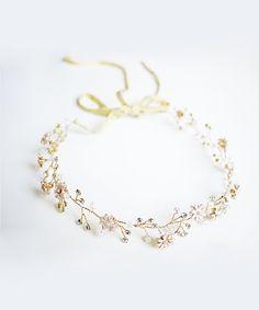 Golden Enamel Flower & Diamante Boho Bridal Crown/Hair Vine