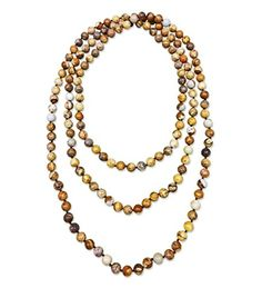 """MGR Women's """"Down to Earth"""" Genuine Picture Jasper Stone Infinity Endless Hand Knotted Necklace 60 Inches Long * Find out more about the great product at the image link."""