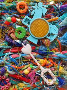 Greetings card - It's Only a Game (2014) flotsam weaving from beachcombing finds