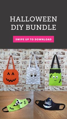 Just because we're keeping safe, doesn't mean we can't get spooky! Make your face masks more fun with these Halloween themed face mask patterns! We've also got matching treat bags in varying patterns, you're sure to find one right for you or your kids. Patterns include: mummies, black cat, Frankenstein, pumpkins, and more! Halloween Themes, Halloween Diy, Kids Patterns, Sewing Patterns, Treat Bags, Frankenstein, Quilting Projects, Face Masks, Pumpkins