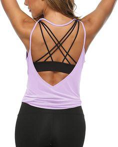 Yoga Tank Tops, Workout Tank Tops, Workout Shirts, Womens Workout Outfits, Sport Outfits, Shoulder Workout Bodybuilding, Gym Workouts Women, Sexy Shirts, Yoga Fashion