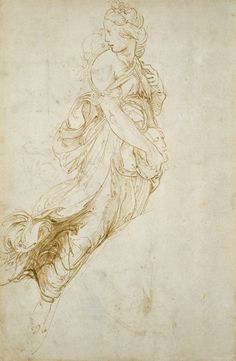 Raphael (Raffaello Sanzio), 1483-1520, Italian, Study for the Figure of Melpomene (recto), n.d. Pen and brown ink on off-white paper, 33 x 21.9 cm. Ashmolean Museum at the University of Oxford, UK. High Renaissance.