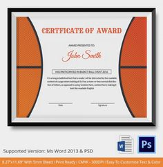 Award Certificate Templates  Award Certificate With Orange
