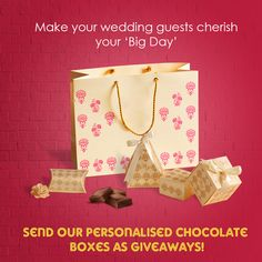 A gift of chocolate box is the perfect companion for your wedding card. Order yours today:  https://www.parekhcards.com /weddinginvitations/Personalised- Favor-Chocolate-Boxes.asp