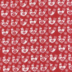 Red and White Chicken Holiday Fabric  Folk Art door CreateByTheYard