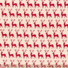 Cotton Fabric Festive Natural / Red Reindeer Row Cut Length