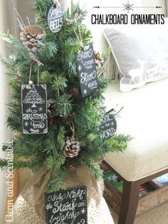 Chalkboard art Christmas ornaments.  Love this!