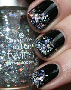 Black with glitter nail art