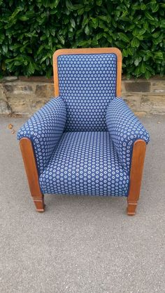 Vintage Walnut Art Deco Club Armchair in African 'Shweshwe' Indigo Fabric Mid Century Chair, Baby Design, Dining Room Chairs, Upholstered Chairs, Contemporary Furniture, Printing On Fabric, Outdoor Chairs, Armchair, Cotton Fabric